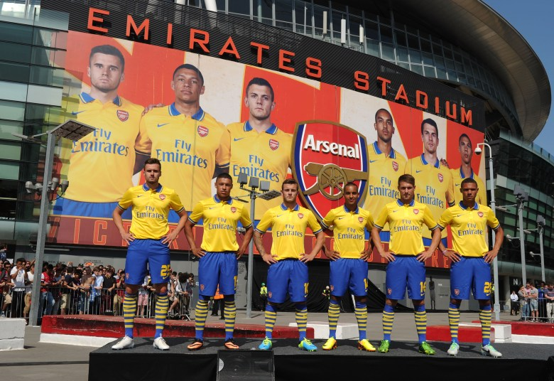 LONDON, ENGLAND - JULY 09: (L-R) Carl Jenkinson, Alex Oxlade-Chamberlain, Jack Wilshere, Theo Walcott, Aaron Ramsey and Kieran Gibbs of Arsenal poses during the launch of the new kit for the 2013-14 season at Emirates Stadium on July 09, 2013 in London, England. (Photo by Stuart MacFarlane/Arsenal FC via Getty Images)