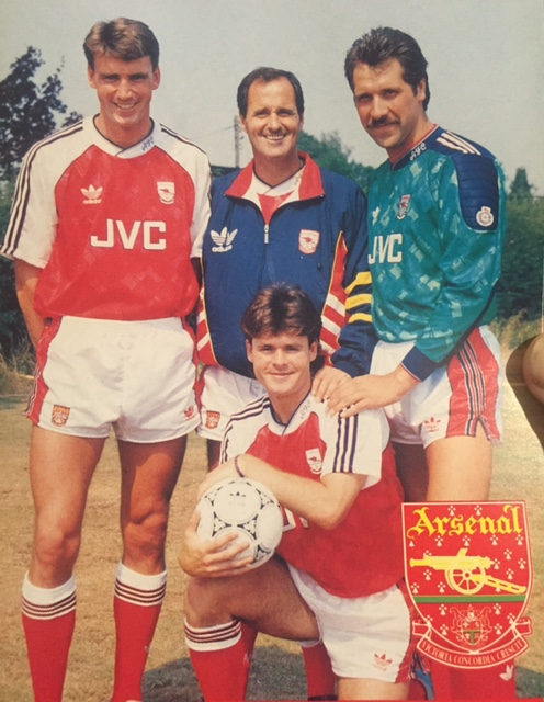 George Graham poses with his three new signings Limpar, Seaman and Linighan
