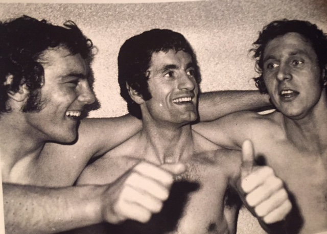 Ray Kennedy, Frank McLintock and Raddy celebrate after clinching the Double