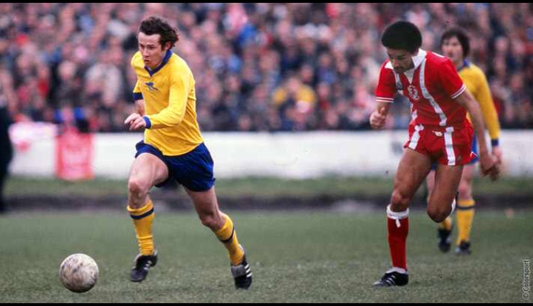 Liam with an Orient player in close pursuit in the FA Cup Semi-Final