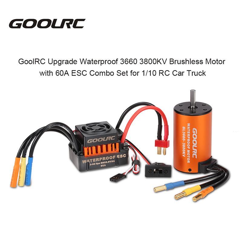 GoolRC Upgrade Waterproof 3660 3800KV Brushless Motor with 60A ESC