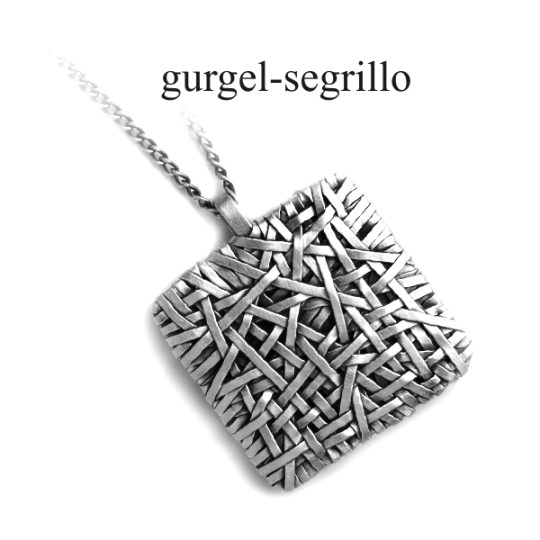 handcrafted contemporary jewellery silver square pendant