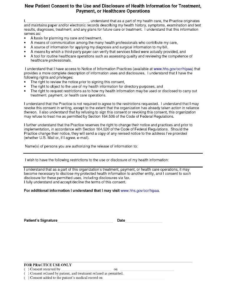 Hipaa Consent Forms Consent Form Patient Forms - Woodland Park - hipaa consent forms