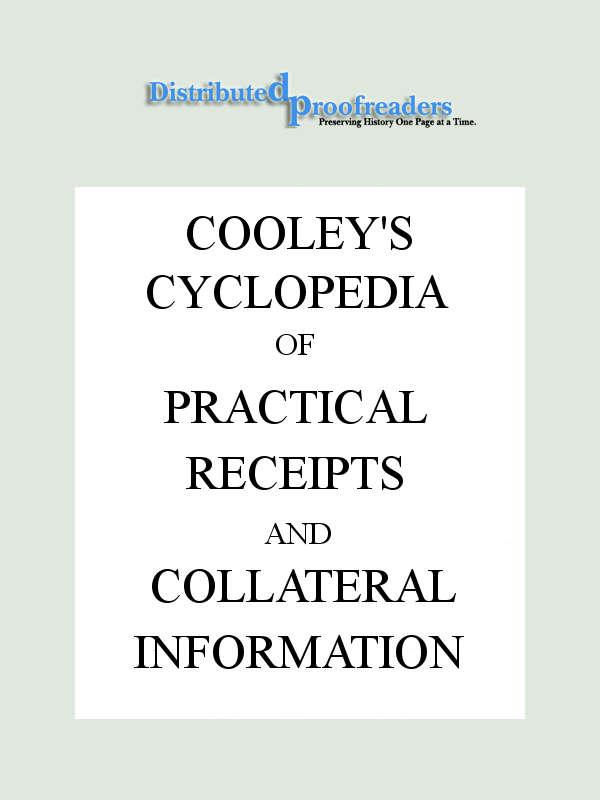 The Project Gutenberg eBook of Cooley\u0027s Cyclopædia, 6th Ed, Vol I