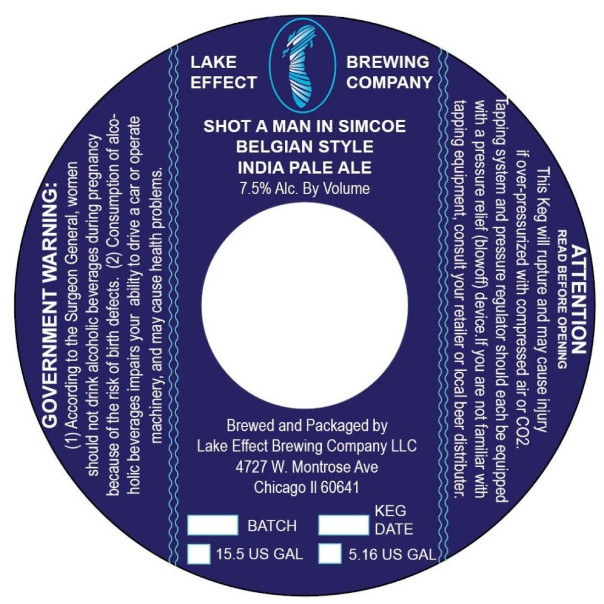 Lake Effect (DryHop Brewers Collaboration) Shot A Man In Simcoe Belgian Style India Pale Ale