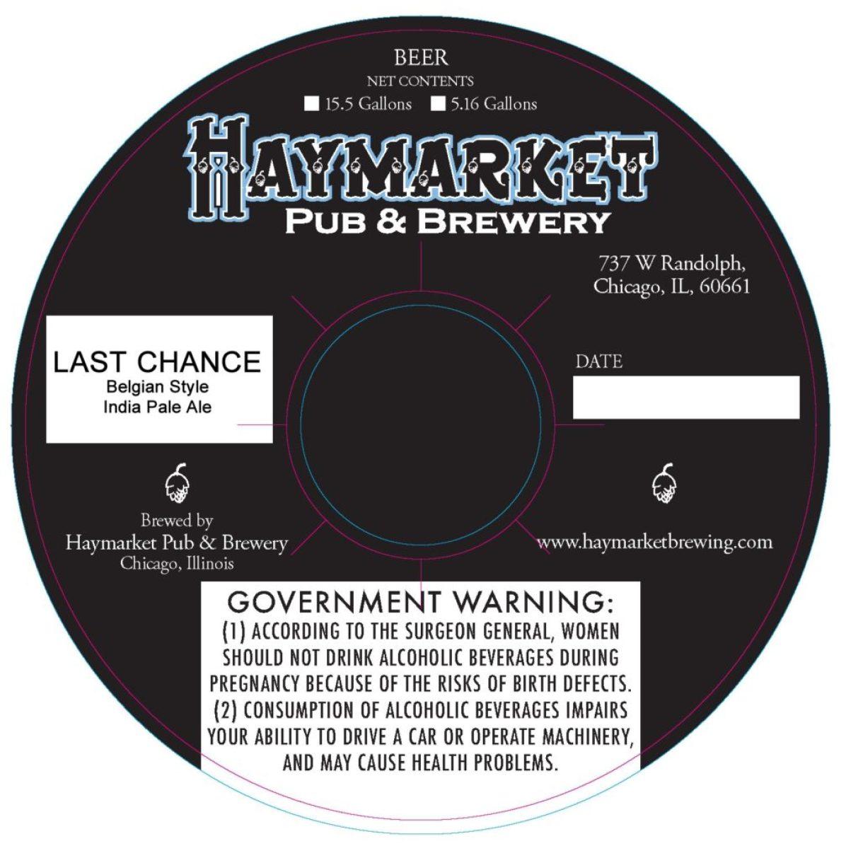Haymarket Last Chance Belgian Style India Pale Ale