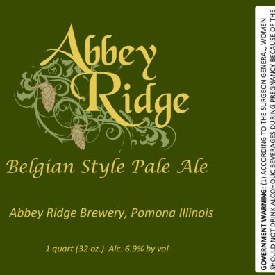 Abbey Ridge Belgian Pale Ale Label