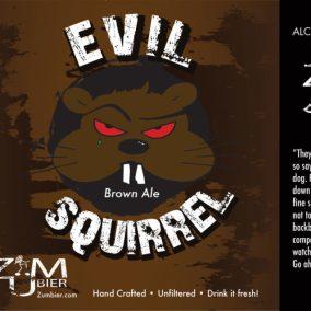 Zumbier Evil Squirrel Brown Ale Label