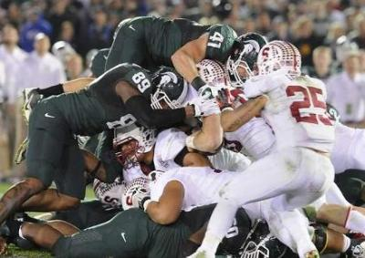 Kyler Elsworth and Michigan State's defense came up big when it mattered most. (Rod Sanford/Lansing State Journal)
