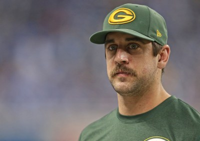 DETROIT, MI - NOVEMBER 28:  Green Bay Packers quarterback Aaron Rogers #12 watches the action during the second quarter of the game against the Detroit Lions at Ford Field on November 28, 2013 in Detroit, Michigan. The Lions defeated the Packers 40-10.  (Photo by Leon Halip/Getty Images)