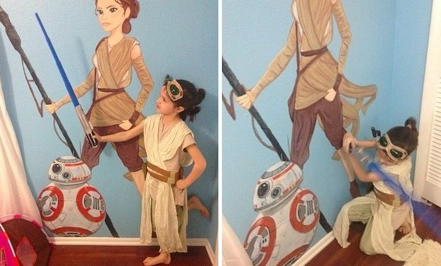 This little girl is a Star Wars fanatic, so her mom painted Rey on her bedroom wall