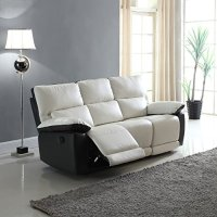 Modern Two Tone Bonded Leather Oversize Recliner Living ...