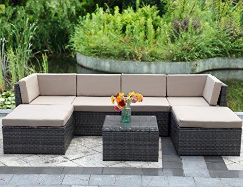 7 Piece Outdoor Wicker Sofawisteria Lane Patio Furniture