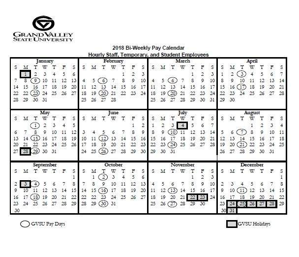 Pay and Holiday Calendars - Payroll Office - Grand Valley State
