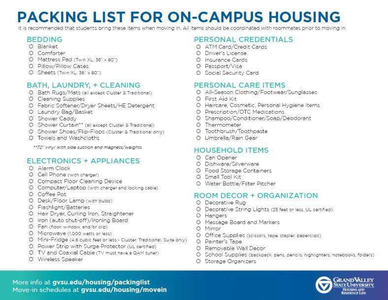 Packing List for On-Campus Housing - Housing - Students - Grand