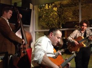 Here I am trying to keep up with Howard Alden, and Bassist Kelly Friesen[!]