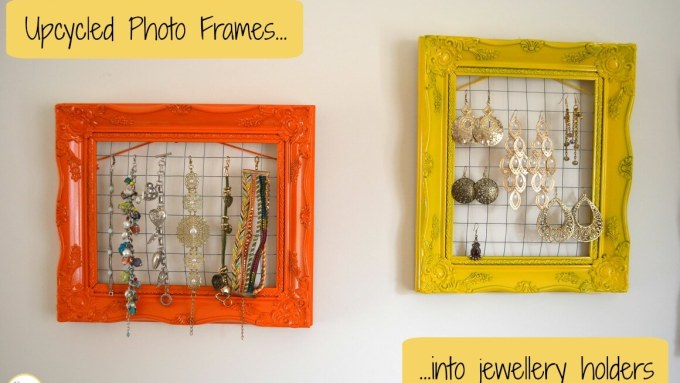 Upcycled photo frames into jewellery holders