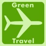 Green travel airplane logo