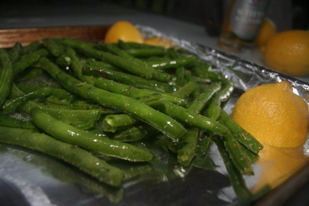 Lemon, Garlic, and White Balsamic Roasted Green Beans
