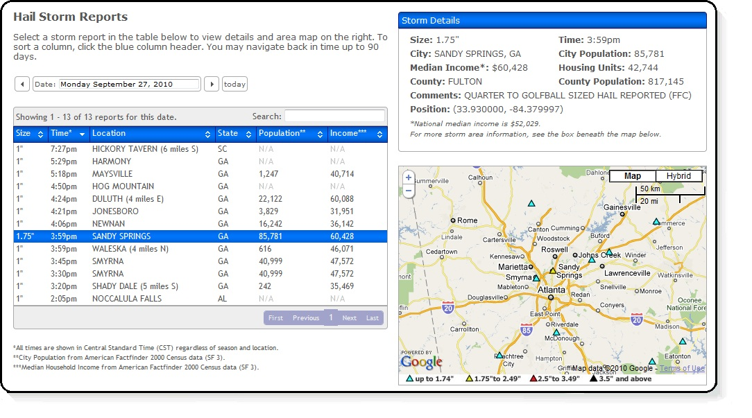 View Sample Reports The Hail Reporter - sample reports