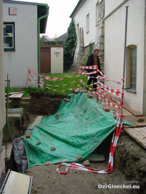 Sicherung der Ausgrabungen im angrenzenden Areal