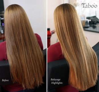 Balayage highlighting long blonde hair