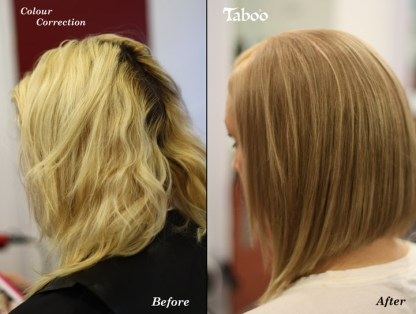 Hair colour correction work before and after photos