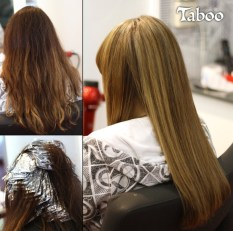 Hair colouring with foil highlights