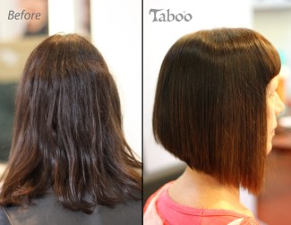 Bob haircut style change and colour before and after photo