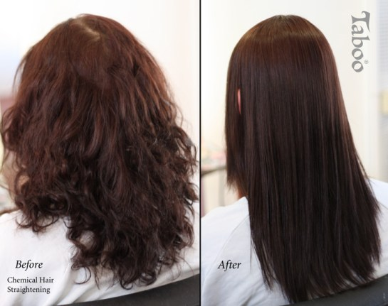 Chemical hair straightening photo