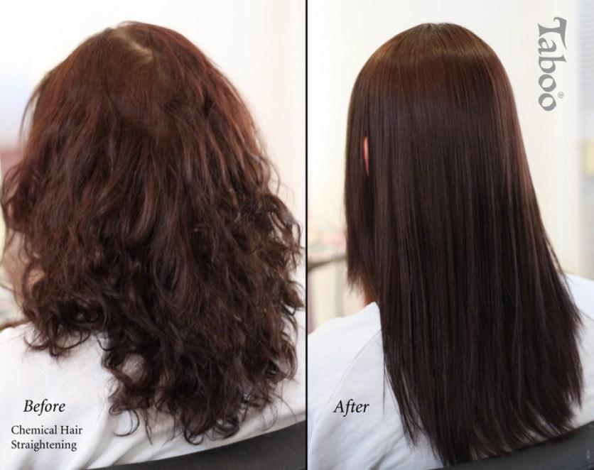 Chemical hair straightening photo