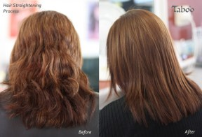 Chemical hair straightening result by Tina Fox