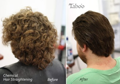 Man's chemical hair straightening result