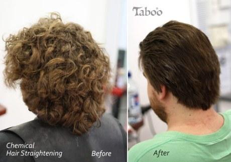 Man's chemical hair straightening result