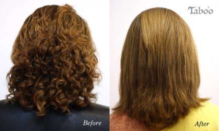 Chemical hair straightening by Tina Fox