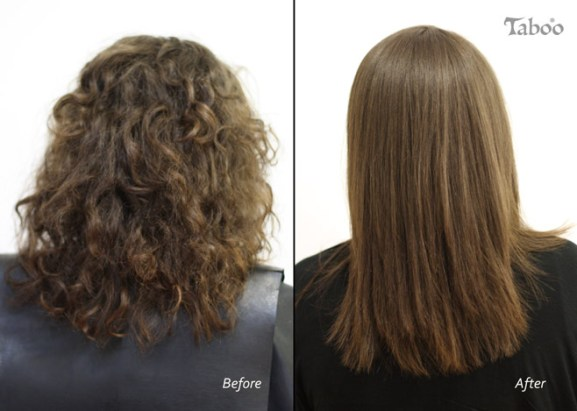 Hair straightening result by Tina Fox.