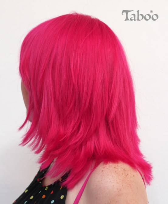 Fluorescent pink hair colour style photo.
