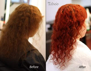 Reddish orange hair colour style
