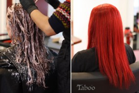 Deep red colour hair style photo