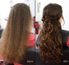 updo hairstyle before and after photo