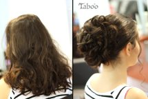 Updo hair design before and after photo