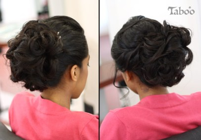 Dark haired updo design photo