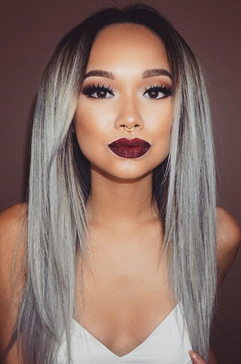 Luxury Brazilian Virgin Hair Silver/Grey Ombre Straight Celebrity