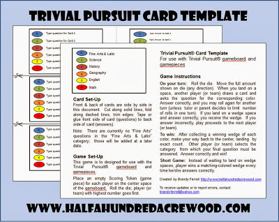 Trivial Pursuit Review Game Cards! - Half a Hundred Acre Wood