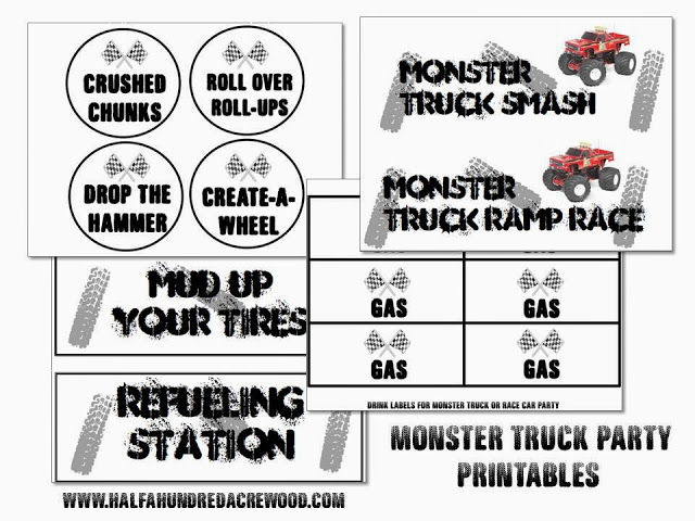 Monster Truck Party {Free Printables} - Half a Hundred Acre Wood