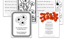 In Flanders Fields: WWI Poetry Copywork & Coloring