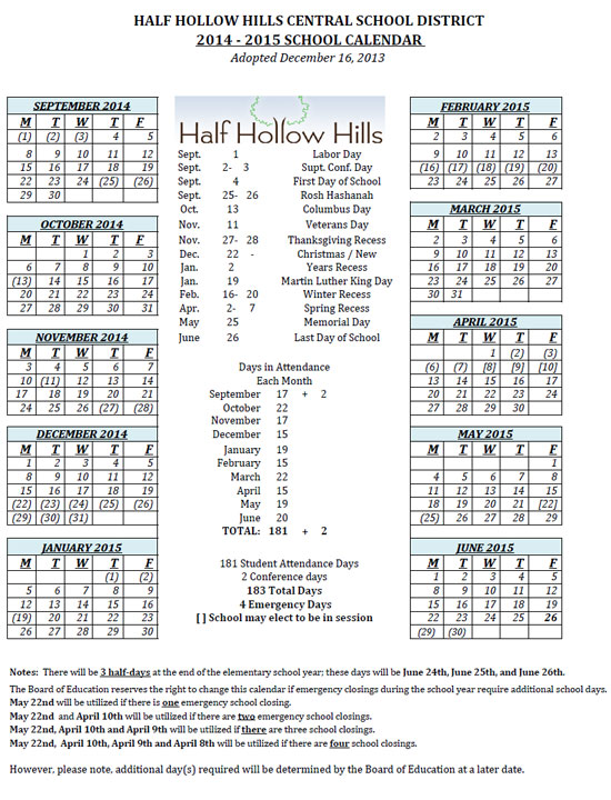 Public School Calendar Nyc 2014 15 New York Public School Calendar For Brooklyn Schools Half Hollow Hills