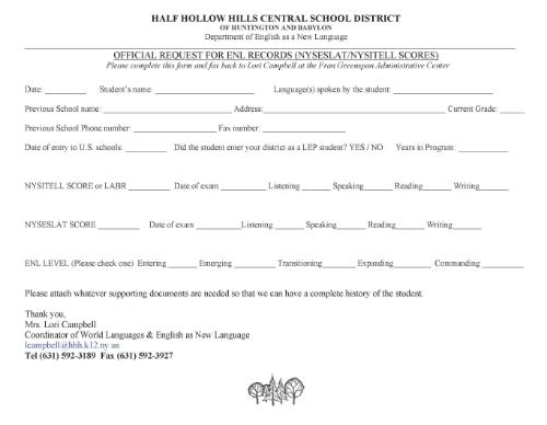 Half Hollow Hills ENL Resources - student request form