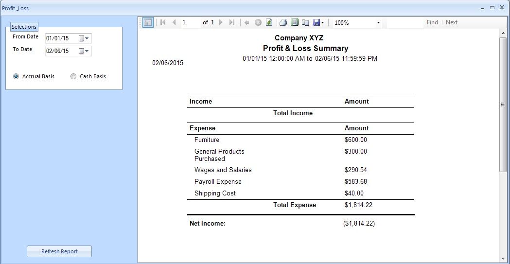 profit and loss report example – Profit and Loss Report Sample