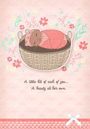 Bassinet New Baby Girl Congratulations Card - Greeting Cards - Hallmark - baby congratulation card